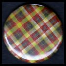 Pretty in Plaid, Yellow Green Red 1 Inch Pin Back Button Badge Pin - 1086