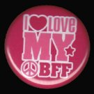 I Love My BFF on Red Background, 1 Inch BFF Button Badge Pinback - 2136
