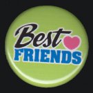 Best Friends on Apple Green Background, 1 Inch BFF Button Badge Pinback - 2146