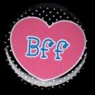 Heart BFF on Black Polka Dot Background, 1 Inch BFF Button Badge Pinback - 2153