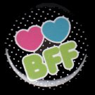 Hearts BFF on Black Polka Dot Background, 1 Inch Friendship Button Badge Pinback - 2161