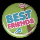 Best Friends with Bird on Green Background, 1 Inch Friendship Button Badge Pin Back - 2165
