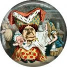 Queen of Hearts with Baby, Classic Alice in Wonderland 1 Inch Button Badge Pin - 0064