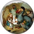 Alice with Dodo Bird, Classic Alice in Wonderland 1 Inch Button Badge - 0061