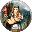 Alice Holding Pig Baby, Classic Alice in Wonderland 1 Inch Button Badge Pin - 0058