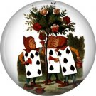 Deck of Cards Painting the Roses Red, Classic Alice in Wonderland 1 Inch Button Badge Pin - 0055