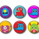 Not So Scary Monsters, Set of 12 1 Inch Pinback Buttons - Set 1