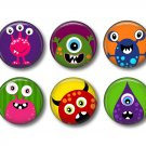 Not So Scary Monsters, Set of 12 1 Inch Pinback Buttons - Set 2