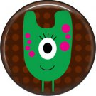 Not so Scary Green Monster on Brown Background, 1 Inch Pinback Button - 0023