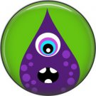 Not so Scary Purple Monster on Green Background, 1 Inch Pinback Button - 0018