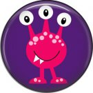Not so Scary Pink Monster on Purple Background, 1 Inch Pinback Button - 0013