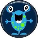Not so Scary Blue Monster on Navy Background, 1 Inch Pinback Button - 0011