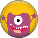 Not so Scary Purple Monster on Yellow Background, 1 Inch Pinback Button - 0004 0008