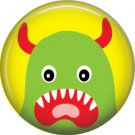 Not so Scary Green Monster on Yellow Background, 1 Inch Pinback Button - 0006