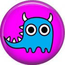 Not so Scary Blue Monster on Fuchsia Background, 1 Inch Pinback Button - 0003