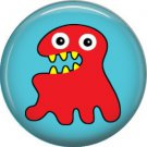 Not so Scary Red Monster on Blue Background, 1 Inch Pinback Button - 0002