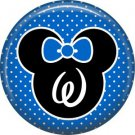 Mouse Ears with Blue Bow Letter W, 1 Inch Alphabet Initial Button Badge Pinback