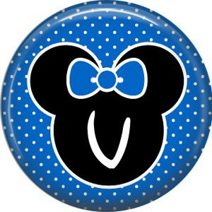 Mouse Ears with Blue Bow Letter V, 1 Inch Alphabet Initial Button Badge Pinback