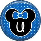 Mouse Ears with Blue Bow Letter U, 1 Inch Alphabet Initial Button Badge Pinback