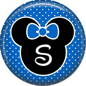Mouse Ears with Blue Bow Letter S, 1 Inch Alphabet Initial Button Badge Pinback