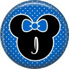 Mouse Ears with Blue Bow Letter I, 1 Inch Alphabet Initial Button Badge Pinback