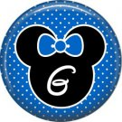 Mouse Ears with Blue Bow Letter G, 1 Inch Alphabet Initial Button Badge Pinback