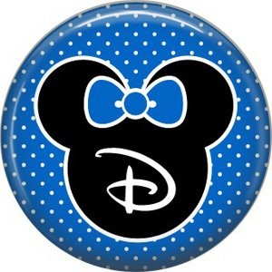 Mouse Ears with Blue Bow Letter D, 1 Inch Alphabet Initial Button Badge Pinback