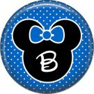 Mouse Ears with Blue Bow Letter B, 1 Inch Alphabet Initial Button Badge Pinback