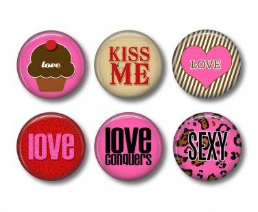 Wild Love Valentine's Day 12 1 Inch Pinback Button Badge Pins - Set 3