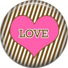 Wild Love Pink Heart Valentine's Day 1 Inch Pinback Button Badge Pin - 2142