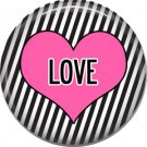 Wild Love Pink and Black Valentine's Day 1 Inch Pinback Button Badge Pin - 2150