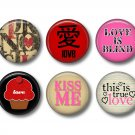Wild Love Valentine's Day 12 1 Inch Pinback Button Badge Pins - Set 4