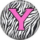 Pink Y on Zebra Print Background, 1 Inch Alphabet Initial Button Badge Pinback