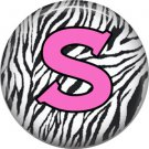 Pink S on Zebra Print Background, 1 Inch Alphabet Initial Button Badge Pinback