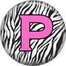 Pink P on Zebra Print Background, 1 Inch Alphabet Initial Button Badge Pinback