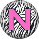 Pink N on Zebra Print Background, 1 Inch Alphabet Initial Button Badge Pinback