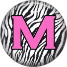 Pink M on Zebra Print Background, 1 Inch Alphabet Initial Button Badge Pinback