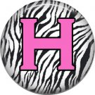 Pink H on Zebra Print Background, 1 Inch Alphabet Initial Button Badge Pinback