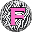 Pink F on Zebra Print Background, 1 Inch Alphabet Initial Button Badge Pinback