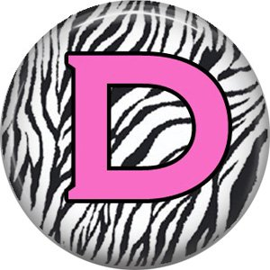Pink D on Zebra Print Background, 1 Inch Alphabet Initial Button Badge Pinback