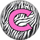 Pink C on Zebra Print Background, 1 Inch Alphabet Initial Button Badge Pinback