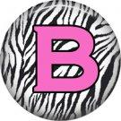 Pink B on Zebra Print Background, 1 Inch Alphabet Initial Button Badge Pinback