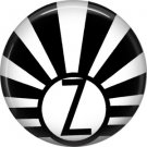 Art Deco Sunburst Alphabet Letter Z, 1 Inch Button Badge Pin