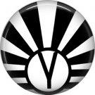 Art Deco Sunburst Alphabet Letter Y, 1 Inch Button Badge Pin
