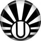 Art Deco Sunburst Alphabet Letter U, 1 Inch Button Badge Pin