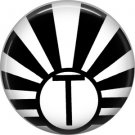 Art Deco Sunburst Alphabet Letter T, 1 Inch Button Badge Pin