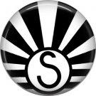 Art Deco Sunburst Alphabet Letter S, 1 Inch Button Badge Pin