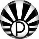Art Deco Sunburst Alphabet Letter P, 1 Inch Button Badge Pin