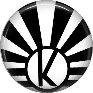 Art Deco Sunburst Alphabet Letter K, 1 Inch Button Badge Pin