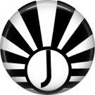 Art Deco Sunburst Alphabet Letter J, 1 Inch Button Badge Pin